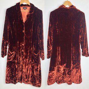 Shihreen Stunning Copper Orange Velvet Jacket